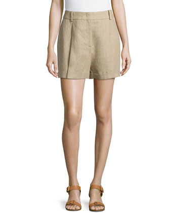 Linen Serge Pleated Shorts, Hemp