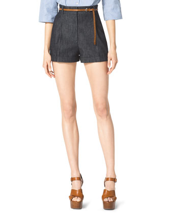 Pleated Denim Shorts, Indigo