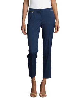 Zipper-Waist Ankle Pants, Indigo