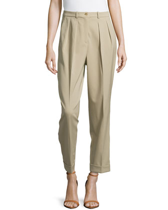 Slim Pleated Cuffed Pants, Sand