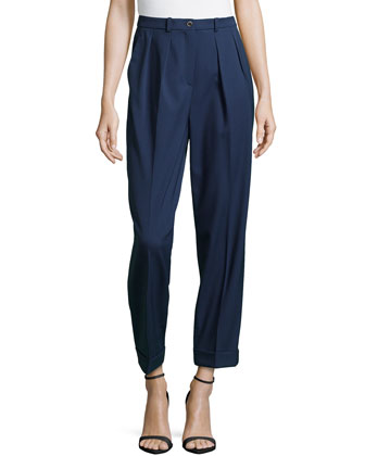 Slim Pleated Cuffed Pants, Indigo