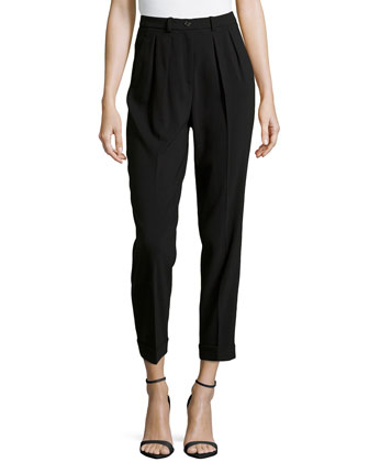 Slim Pleated Cuffed Ankle Pants, Black