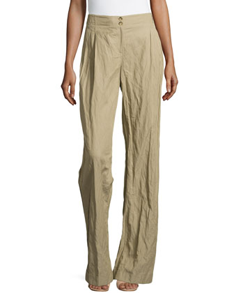Wide-Leg Cuffed Trousers, Sand