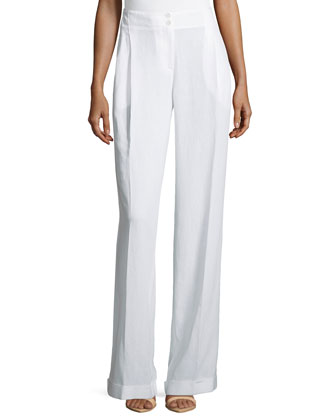 Pleated & Cuffed Wide Leg Pants, Optic White