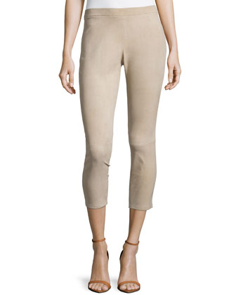Stretch Suede Leggings, Sand