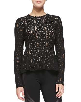 Estelle Long-Sleeve Lace Peplum Top