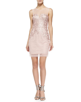 Abigail Mesh-Trim Sequined Cocktail Dress