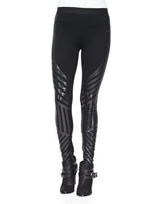 Lacie Sequined-Stripe Ponte Leggings