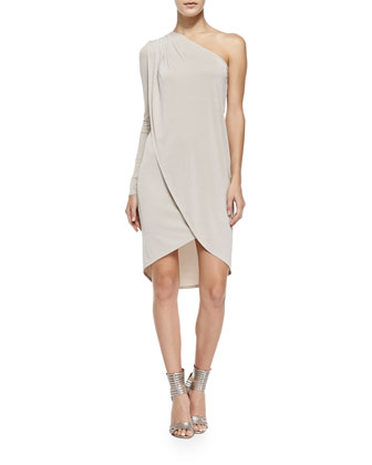 Jolee Single-Sleeve Shimmery Tulip Dress