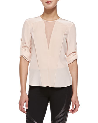 Marrisa Sheer-Inset Silk Blouse