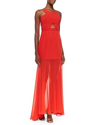Ria Sheer-Overlay Crepe Gown