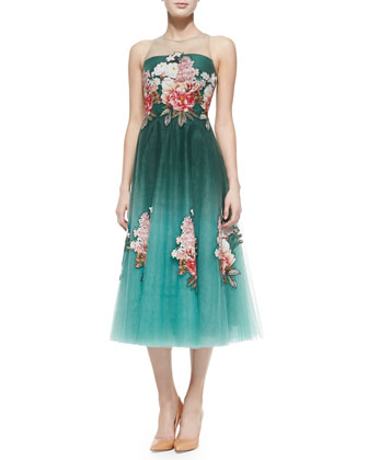 Tea-Length Floral Appliqu?? Dress