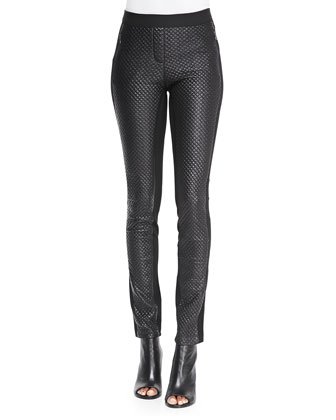 Nicolas Quilted Faux Leather/Ponte Pants