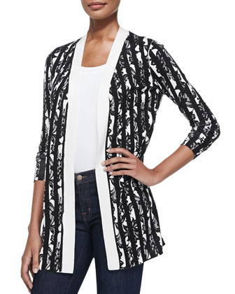 Broken Stripe Long Cashmere-Silk Cardigan