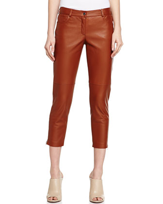 Plonge Leather Capri Pants, Luggage