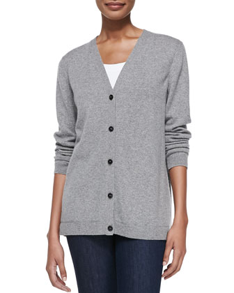 Cashmere Cardigan w/Shirting Back