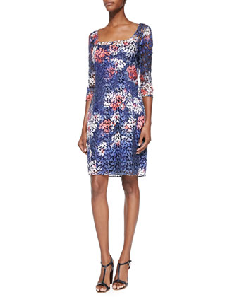 3/4-Sleeve Floral-Print Lace Cocktail Dress