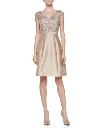Cap-Sleeve Beaded-Bodice Cocktail Dress