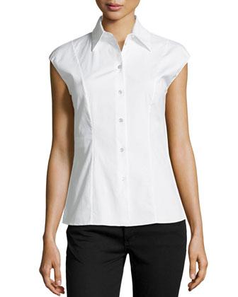 Cap-Sleeve Poplin Shirt
