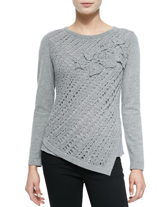 Crochet Asymmetric Cashmere Sweater