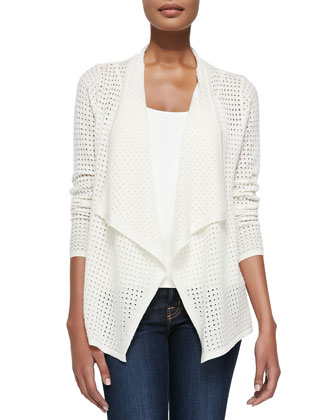 Cutout Draped Cashmere Cardigan