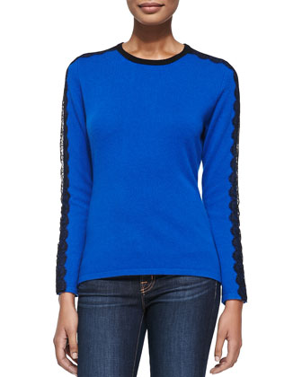 Lace-Sleeve Cashmere Crewneck Top