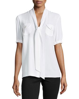 Tie-V-Neck Short-Sleeve Blouse