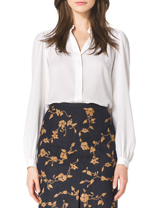 Long-Sleeve Silk Blouse, White