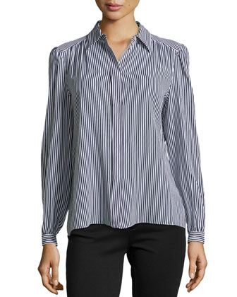 Striped Silk Long-Sleeve Blouse