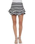 Oceans Ruffled-Detail Striped Shorts