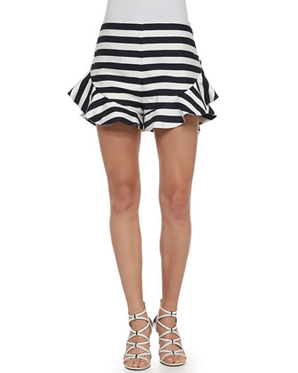 Oceans Ruffled-Detail Striped Shorts