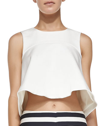 Fluted Jersey Cropped Top