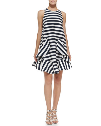Oceans Striped Folded Ruffle-Skirt Dress