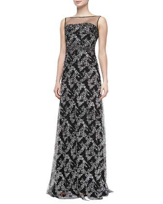 Illusion-Neck Beaded Gown