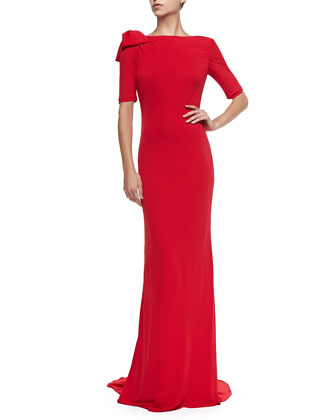 Half-Sleeve Gown with Bow Shoulder