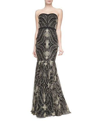 Strapless Beaded-Pattern Mermaid Gown