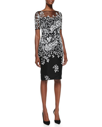 Short-Sleeve Floral Overlay Cocktail Dress