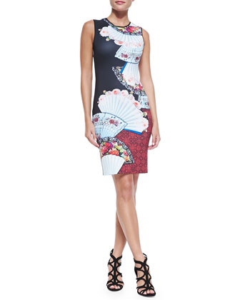 Sleeveless Fan-Print Foulard Dress