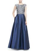 Beaded Bodice Full-Skirt Combo Gown