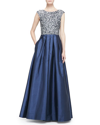 Beaded Bodice Full-Skirt Combo Gown