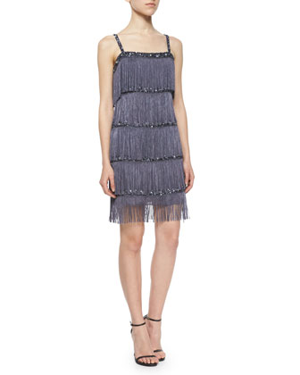 Sleeveless Fringe Cocktail Dress
