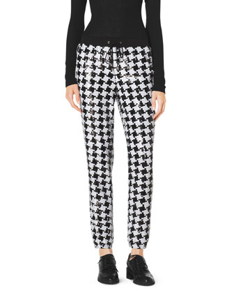 Sequined Houndstooth Jogging Pants