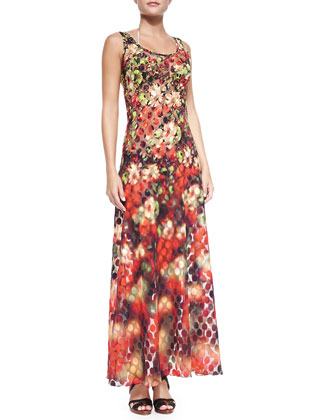 Floral/Dotted Mesh Maxi Coverup