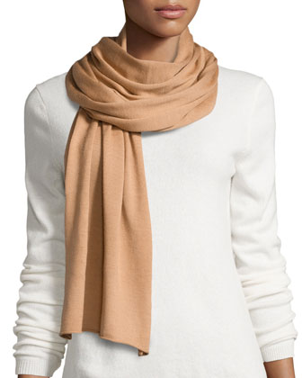 Wool-Blend Solid Knit Scarf, Suntan
