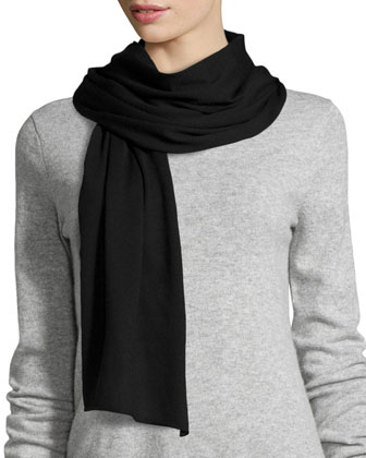 Wool-Blend Solid Knit Scarf, Black
