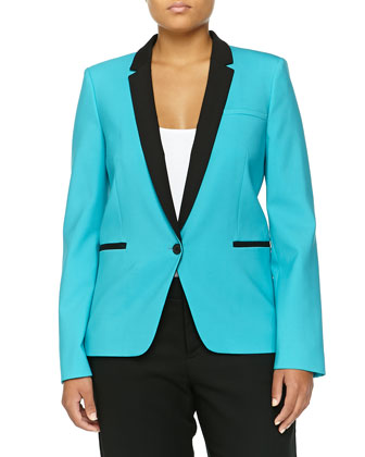 One-Button Tuxedo Jacket, Aqua