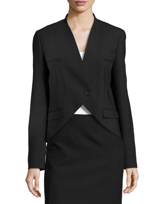 Wool One-Button Cutaway Jacket, Black