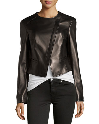 Asymmetric Leather Jacket, Black
