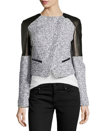 Asymmetric Tweed Jacket with Plonge Leather