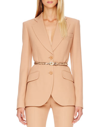 Two-Button Crepe Jacket, Suntan